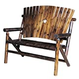 "Char-log A Product of Leigh Country TX93685 48"" X 32"" X 47"" Char-LogTM Double Bench With Star"