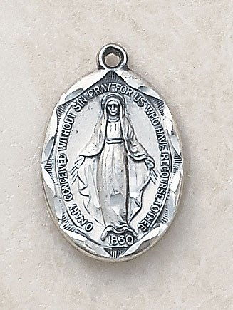 Oval Blessed Virgin Mary Miraculous Medal Necklace