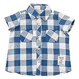 (チャックル) chuckle *ボンシュシュ*先染めチェックガーゼ半袖シャツ ブルー 90cm P3325-90-31