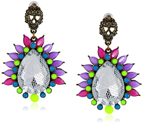 Betsey Johnson Skull And Mesh Covered Faceted Stone Drop Earrings front-895197