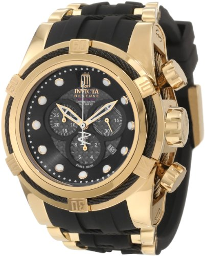Invicta Jason Taylor Bolt Zeus Chronograph Black Carbon Fiber Dial Black Polyurethane Watch (12955)
