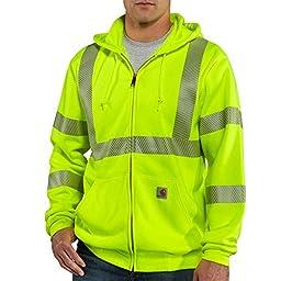 Carhartt Class 3 Zip Front Sweatshirt, Brite Lime, XX-Large