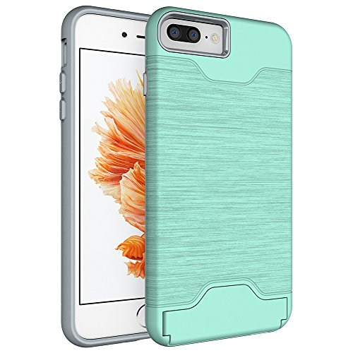 OnPrim Brushed Dual Layer Hard PC Flexible Rubber Card Slot Stash Protection Case With Kiskstand For iPhone 7 4.7 Inth Green