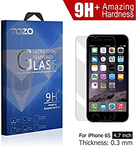 iPhone 6S Screen Protector Glass , TOZO Luxury 0.3mm [9H+ Amazing Extreme Hardness] Tempered Glass [3D Touch Compatible] 2.5D Edge Super Clear [Perfect Fit] Screen [Lifetime Warranty] 0.3mm by TOZO