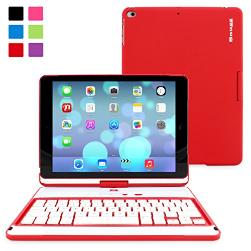 Snugg™ iPad Air 360° Rotatable Keyboard Case - Ultra Slim Keyboard Case with Bluetooth Connectivity & Lifetime Guarantee (Red) For Apple iPad Air