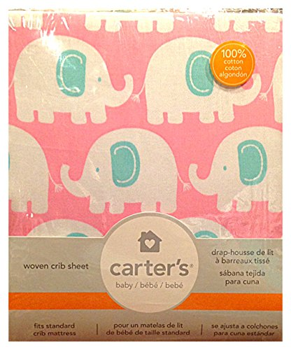 Carter's Fitted Sheet, Elephant/Pink - 1