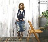 (ジョンブル)JOHNBULL ヴィンテージ加工リメイク&ダメージデニム膝丈ラップスカート(巻きスカートAK600-116)(レディース)