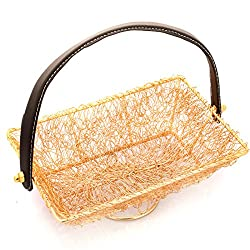 Diwali Gifts - Golden Mesh Handle Basket