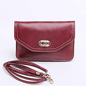 WaitingU Hot Retro Universal Crossbody Multipurpose Large Cell Phone Case Two Separated Pouches PU Leather Flip Cover Shoulder Bag Detachable Strap for Cards Keys MP3 MP4 Phones Under 6''- Wine