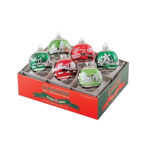 Christopher Radko Christmas Ornaments, Vintage Flocked Medley Balls