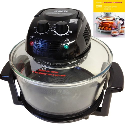 Designer Habitat 12 Litre Premium 1400w Halogen Oven Cooker in Black complete with Extender Ring (to 17 Litre), Lid Holder, Steamer, Frying Pan, Skewers, Low Rack, High Rack, Glove plus FREE 200 page ALL COLOUR Recipe book by Hamlyn RRP £4.99
