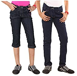 Menthol Girls Denim Shorts and Pant Combo (Pack of 2) (11-12 Years)