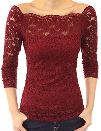 Tkria Donna Pizzo Chiffon Senza Spalline Manica Lunga Maglietta Camicia Rosso,M
