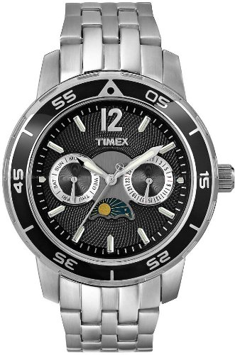 Timex Womens SL Series Sun-Moon Phase Black Dial Stainless Steel Watch T2N079