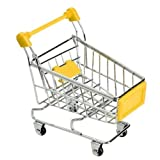 Mini Supermarket Shopping Cart Decoration, Storage Box, Cellphone Holder, Creative Novelty Gift Yellow