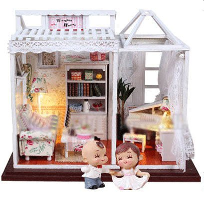 Big Dollhouse Miniature Diy Wood Frame Kit With Light Model Sweet Promise Gift Ldollhouse68-D66