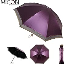MIGOBI 2 Stage Lightweight Strong Windproof Automatic Frame Umbrella with UV Protection Color Coating Fabric 7812 (Dark Purple)