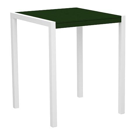 "POLYWOOD 8102-10GR MOD 36"" Bar Table, Gloss White/Green"