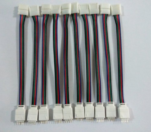 Willlight 10 Pcs Led Strip Light Pcb Connector Adapter 4 Conductor 10Mm Wide, For 5050 Rgb Led Strip- Male Head With 4 Pin