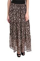 MansiCollections Printed Women's A-line Brown, White Skirt (Small)