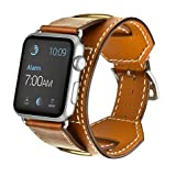 Apple Watch Band,Elobeth iwatch Band Apple Watch Leather Band, iWatch Band Genuine Leather Band Cuff Bracelet Wrist Watch Band with Adapter for Apple Iwatch(42mm Brown) ¡
