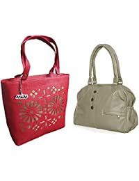 Arc HnH Women HandBag Combo - Elegant Grey + Blossom Red