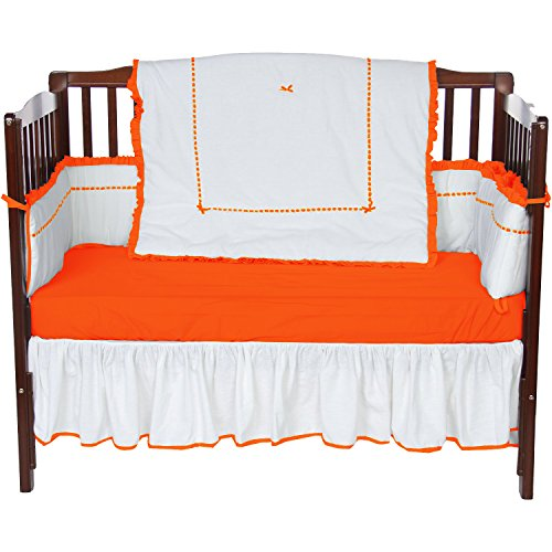 Baby Doll Unique 4 Piece Crib Bedding Set, Orange