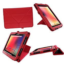 rooCASE Origami Dual-View (Red) Vegan Leather Folio Case Cover for Google Nexus 10 - Support Landscape / Portrait / Typing Stand / Auto Sleep and Wake