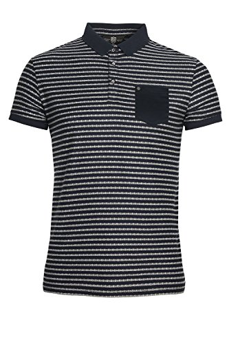 "883 POLICE Royce Striped Polo Shirt | Navy XLarge 42"" Chest"