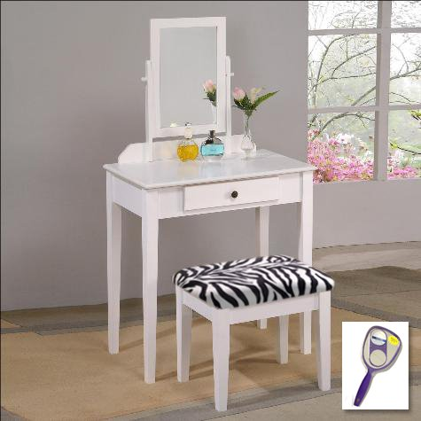 New White Finish Make Up Vanity Table With Mirror & Black & White Zebra Faux Fur Themed Bench front-235258