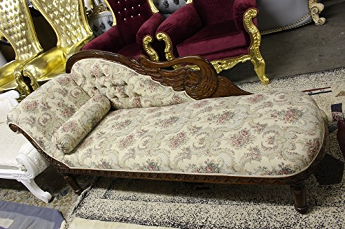 Italian Style Tapestry Chaise Lounge Carved Wood 4
