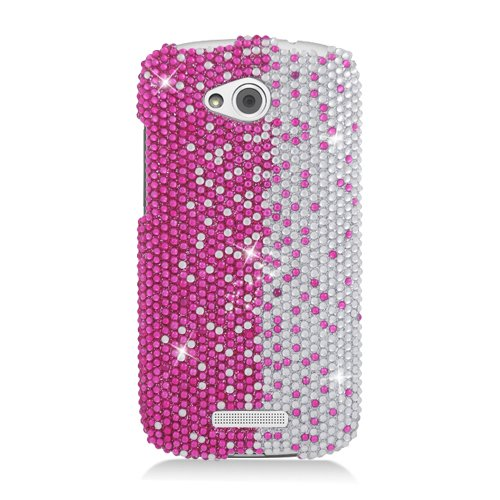 Click to buy Eagle Cell PDHTCONEVXS322 RingBling Brilliant Diamond Case for HTC One VX - Retail Packaging - Hot Pink/Silver Divide - From only $369