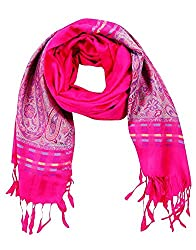 Jubination Silk look Pink Stole for girls/ ladies (Assorted print)