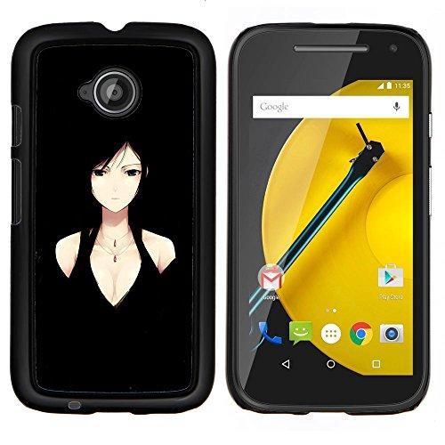 YiPhone /// Premium Slim Snap caso della copertura posteriore Armatura Shell - Donna Anime Character Black Eyes Decolleté - Motorola Moto E2 E2nd Gen
