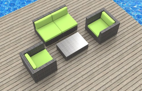 Urban Furnishing - Belize 5c Ultra Modern Outdoor Backyard Wicker Patio Furniture Sofa Sectional Chair 5pc All-Weather Couch Set - lime green