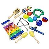 Innocheer シロフォンセット おもちゃの鉄琴 楽器 音楽玩具 知育玩具 子供おもちゃ 子供プレゼント 幼児 幼児楽器 リズム ジャズ お子様に最適 10点セット