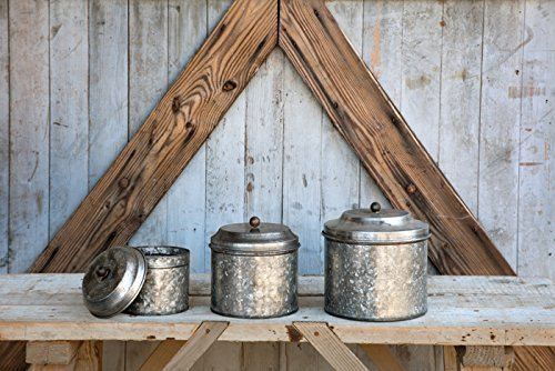 Antique Style Galvanized Tin Canister Set by Park Hill 0