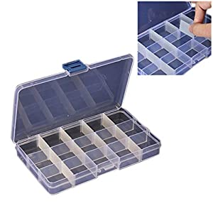 Compact Adjustable 15 Compartment Plastic Storage Box Jewel Case Tool Container