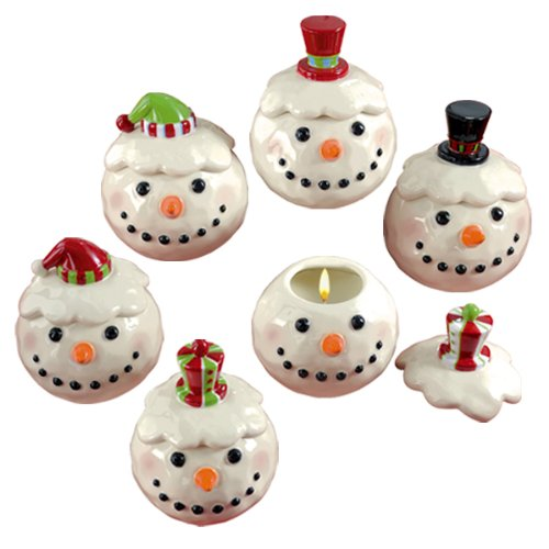 Grasslands Road Holiday Studio 100 Snowman Snowball Filled Peppermint Scented Candle Pots, Set of 18