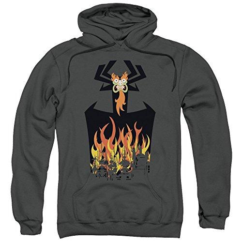 Samurai Jack Mens World-In Flames-Felpa con cappuccio Nero  grigio