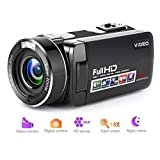 "Video Camera Camcorder Full HD Digital Camera 1080p 18X Digital Zoom Night Vision Pause Function with 3.0"" LCD and 270 Degree Rotation Screen with Remote Controller (Color: B1)"