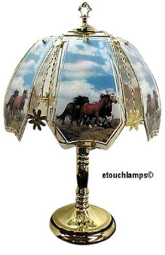 Horses On Range Touch Lamp With Antique Brass Finish front-502142