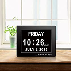 Clear Clock Memory Loss Digital Calendar Day Clock With Full Day & Month Spelling No Abbreviations Great For Impaired Vision (Black)