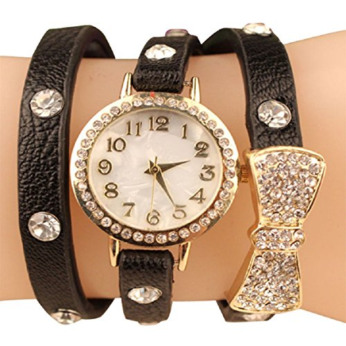 Tonsee(Tm) Fashion Women Bowknot Crystal Quartz Watch Imitation Leather Watch (Black)