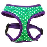 Size #12 Medium Dog Pet Vest Harness Green Mini Dot, Soft And Durable