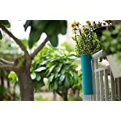 PoppadumArt Hang On! Balcony Planter - Teal Blue