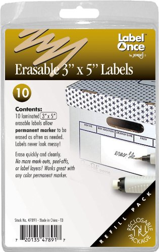 Jokari Label Once Erasable 3X5-Inch Labels Refill Pack, 10-Count