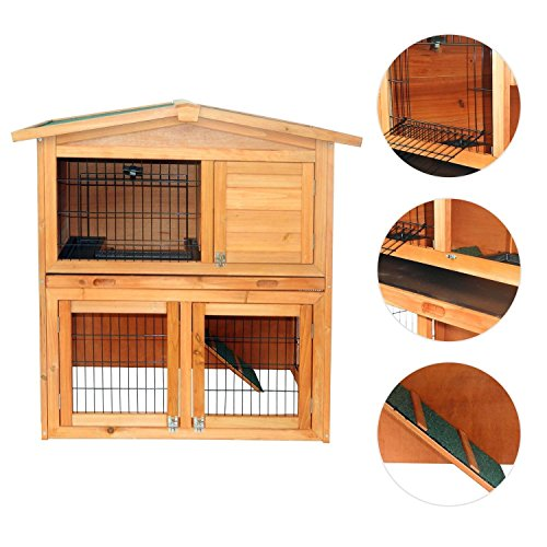Eight24hours 40'' Wooden Rabbit Hutch A-Frame Pet Cage Wood Small House Chicken Coop (Heat Lamp Fixture Dog House compare prices)