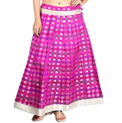 Aura Life Style Georgette Brocade Women's Long Skirt / Lehenga (Pink)