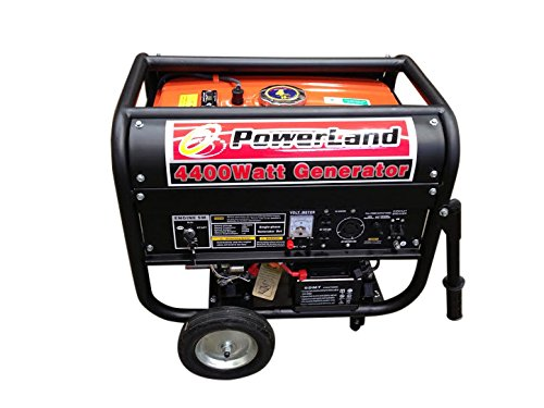 Powerland PD4400E Portable Gas Generator 7.5 HP Electric Start/RV Camping, 4400-watt